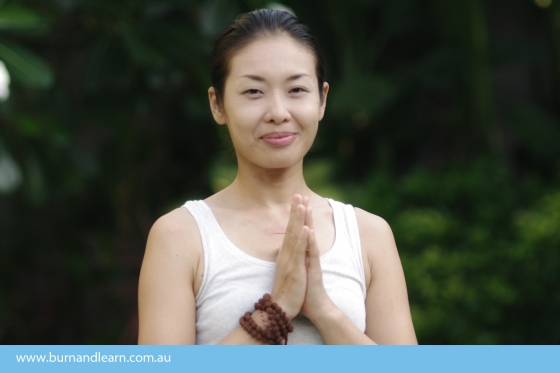 "Tomoko Kubota teaches hatha yoga, however she ""likes all types of yoga"""