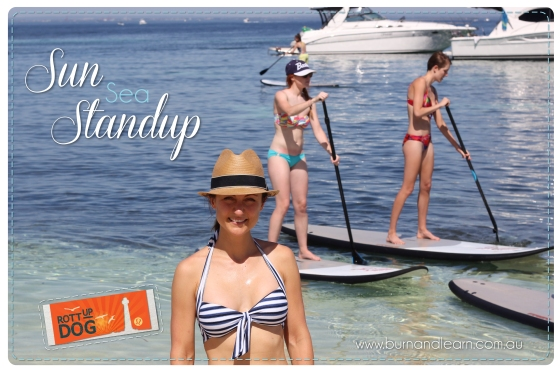 My blogging buddy Melinda, with the lululemon guests trying some Stand-Up Paddle Boarding at Parker Point, Rottnest